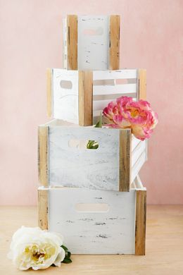 Whitewashed Pallet Crates - Set of Four