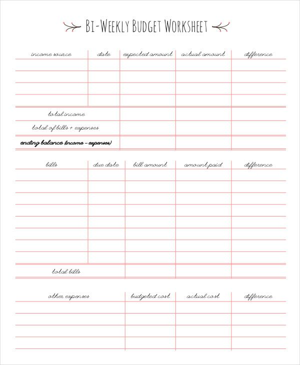 Bi Weekly Budget Worksheet , Simple Monthly Budget Template , Simple - Financial Spreadsheet For Small Business