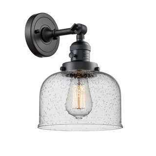 Innovations Lighting Large Bell 1 Light Brass Glass Adjustable Sconce With Switch Matte Black Seedy Led Clear Adjustable Sconce Sconces