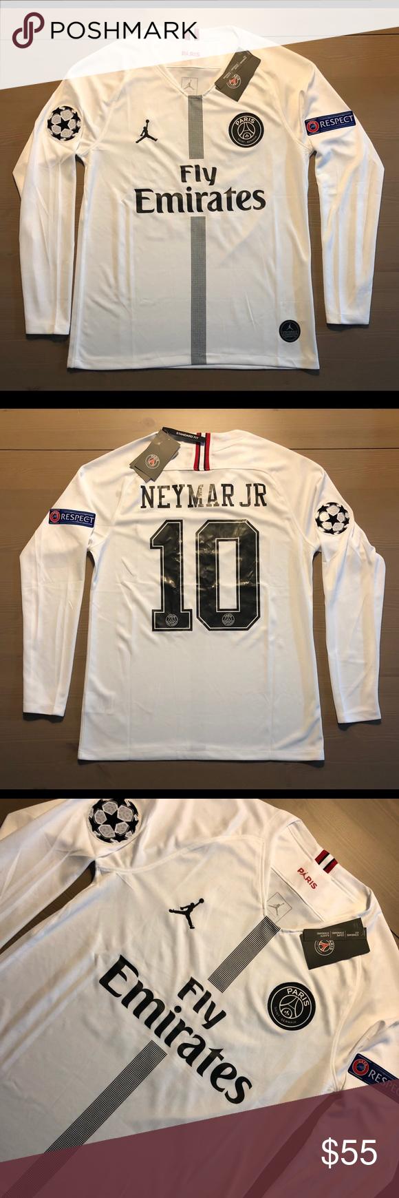 official photos 4ce72 9cfd8 PSG Jordan white Neymar Jr. #10 soccer Jersey PSG Jordan ...