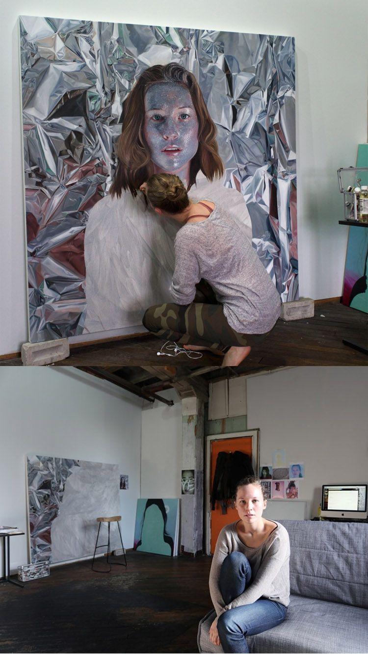 Artist Jen Mann working on a self-portrait in her studio Find original art for sale here ArtandFrame-x.com