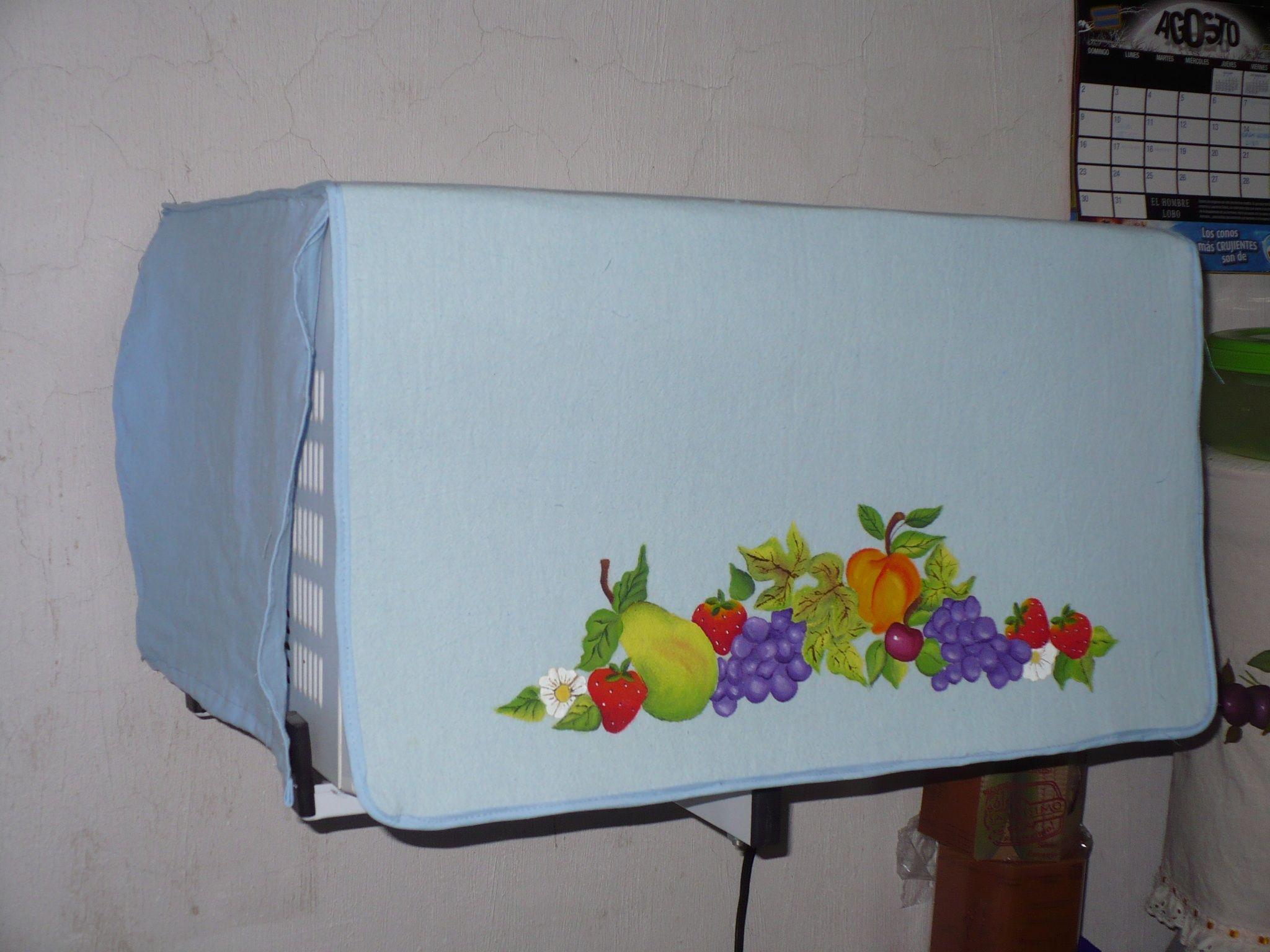 Funda para microondas en manta azul y pintado a mano tu - Cocinas pintadas ...