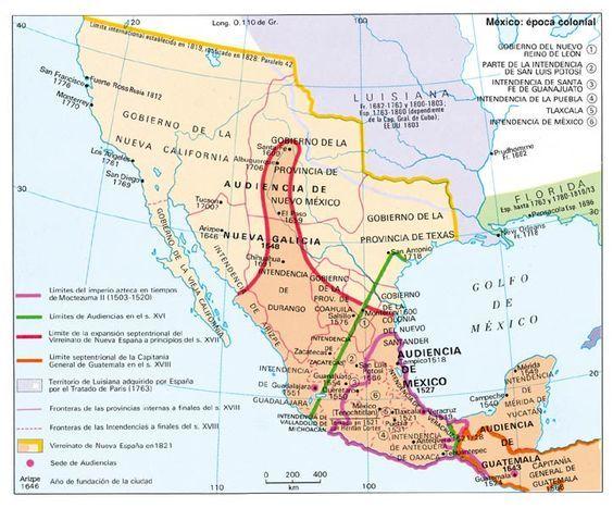 Mapa De Nueva España Siglo Xvi.Mexico Virreinato De Nueva Espana Mapa Historico Mapas Y