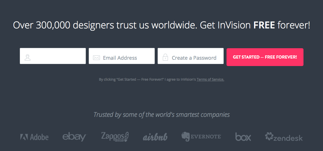 Very simple, easy to use, convincing signup module towards end of page.