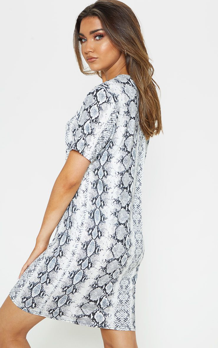 a079323d4b04 Grey Snake Print Short Sleeve T Shirt Dress in 2019 | Products ...