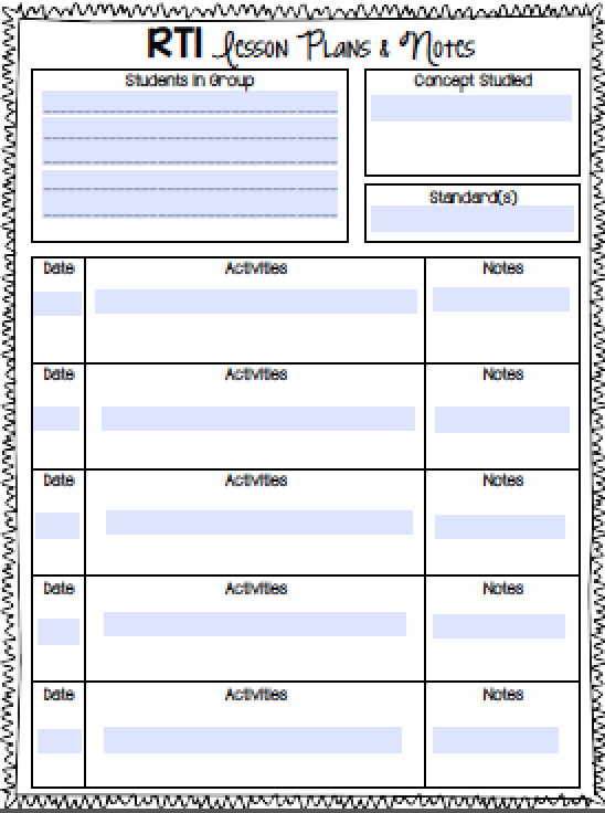 RTI Notebook Math Group And Free - Rti lesson plan template
