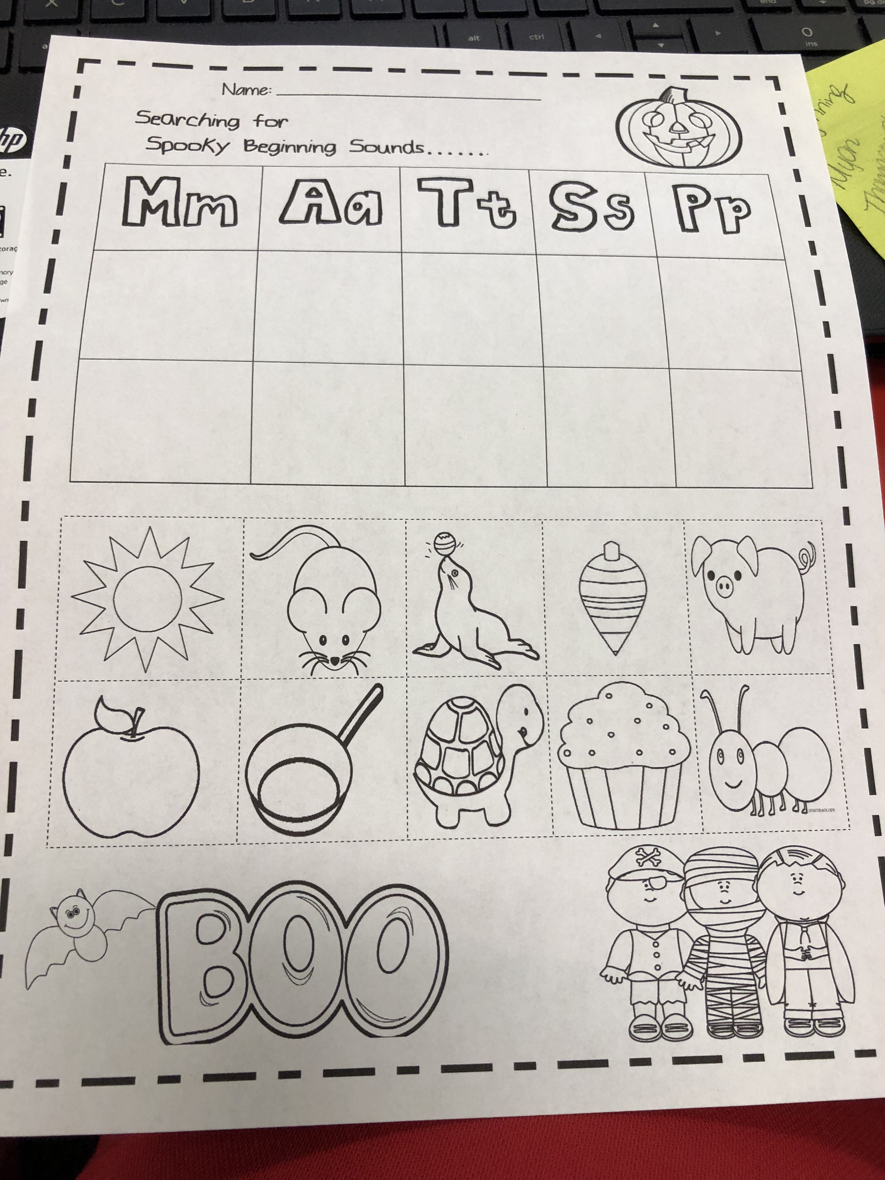 Halloween Beginning Sounds Worksheet I Created For My