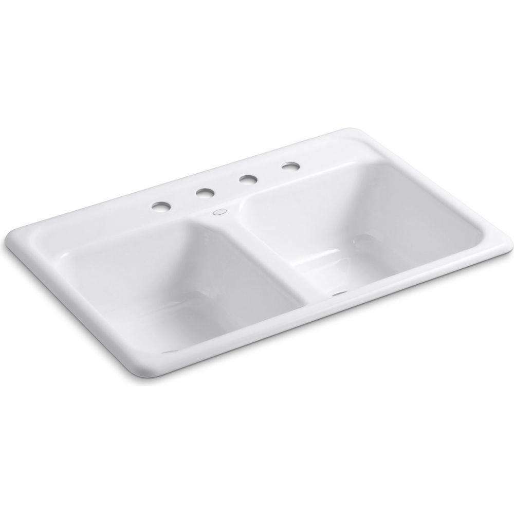 Kohler - K-5817-4-0 Delafield White  Drop-In Double Bowl Kitchen Sinks |eFaucets.com