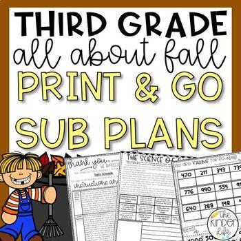 Third Grade Emergency Sub Plans Fall November #emergencysubplans