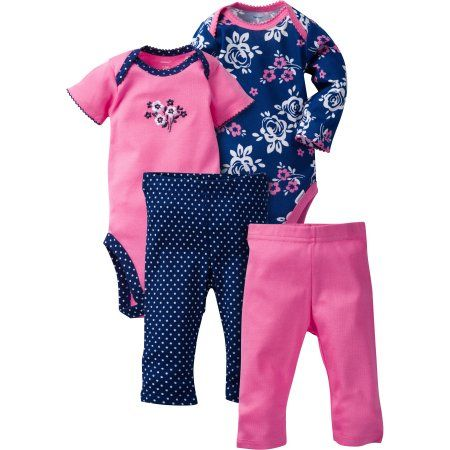 cbd55cfd7b1bd Gerber Baby Girls' 4-Piece Mix-and-Match Set, Size: 3 - 6 Months, Multicolor