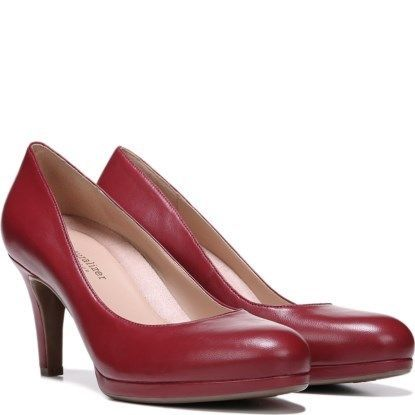 e59f2f427fc Naturalizer Michelle Womens Red Leather Platform Comfort Classic Pumps Shoes