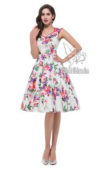 cd17b361a49d0 bayan elbise kolsuz vintage tasarım çiçek desenli,abiye elbise,kısa  abiyeler,uzun abiye,online abiye,ucuz abiye,mezu