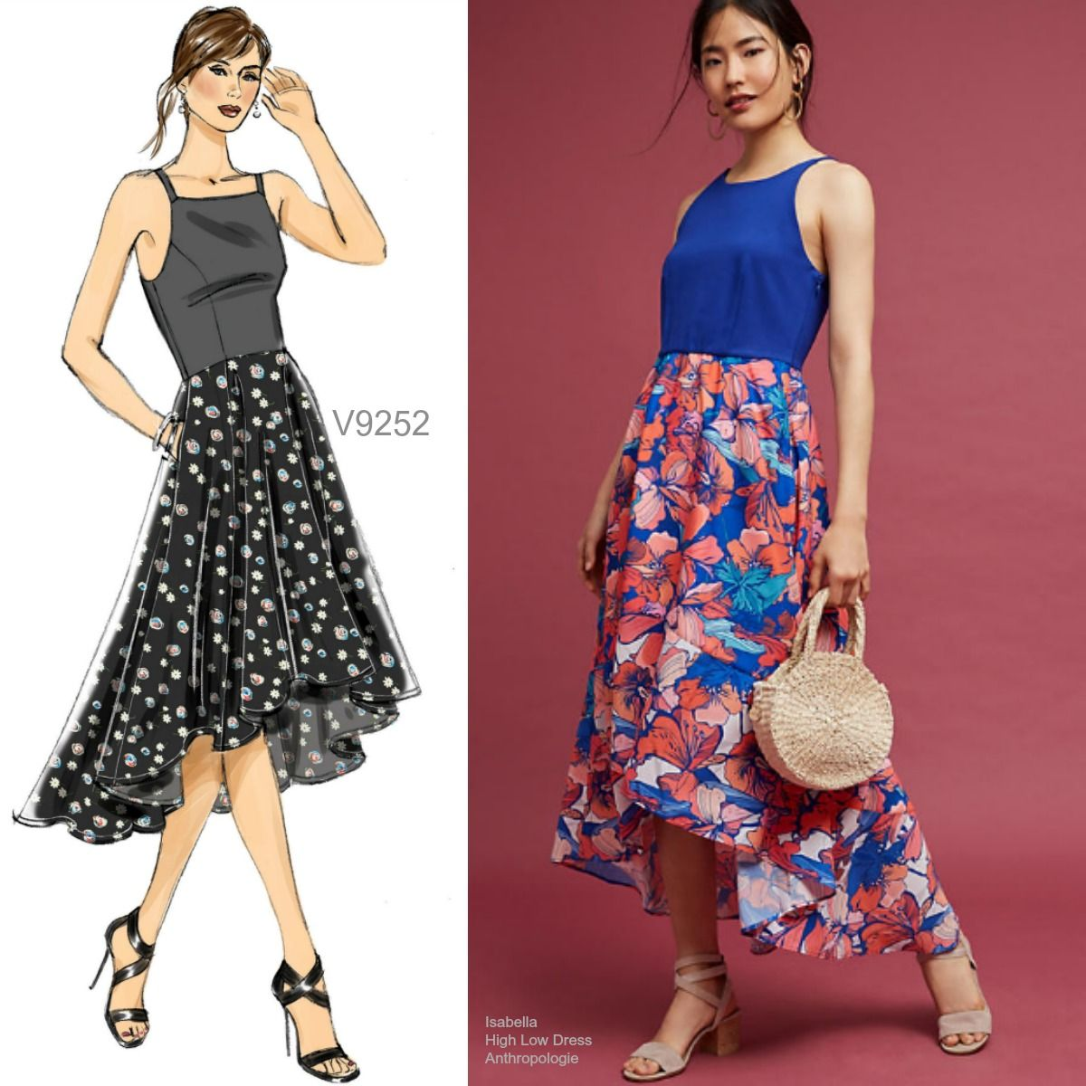 Sew the Look Vogue Patterns V9252 highlow dress sewing