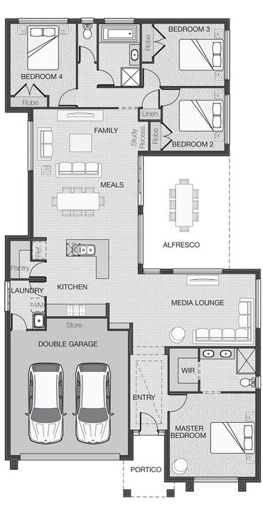 House Plan Good Plan For A Family Your Size Media Area Could Be Daycare Instead 4 Bedroom House Plans Floor Plan Design Small House Plans