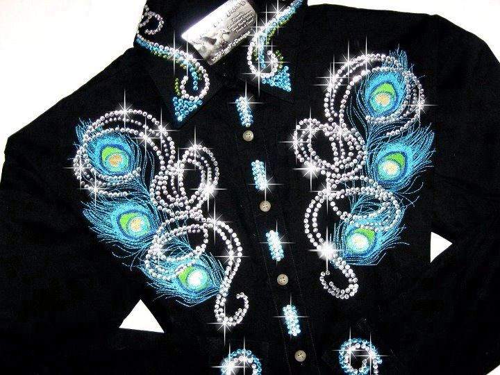 113334c3 Just Fly Designs Bling Peacock Rodeo Queen Shirt | Rodeo Rags ...
