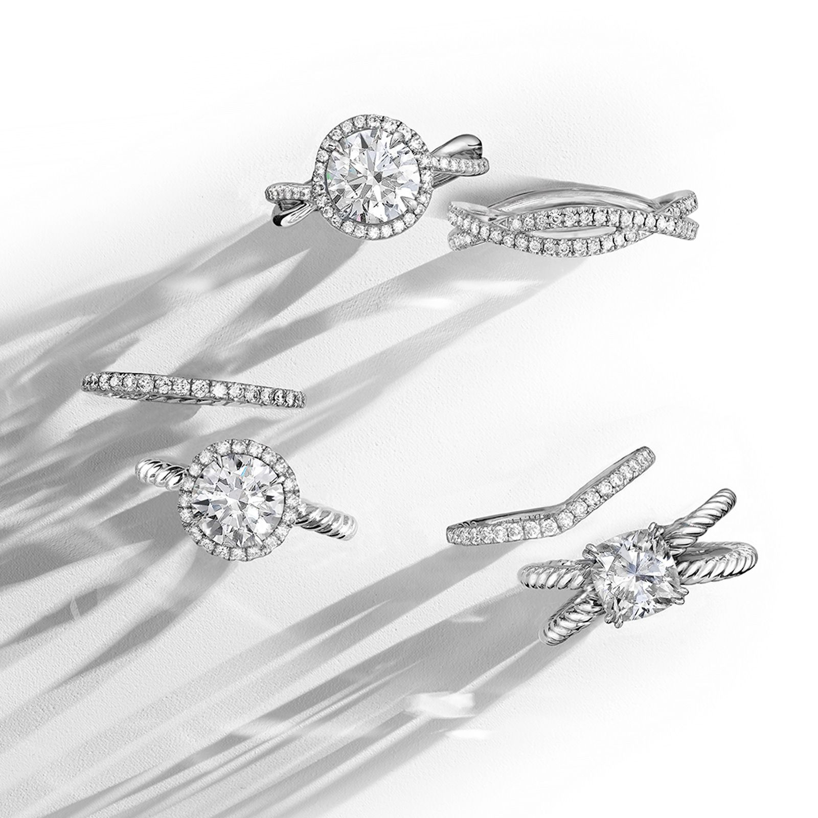 Engagement rings and wedding bands with diamonds in