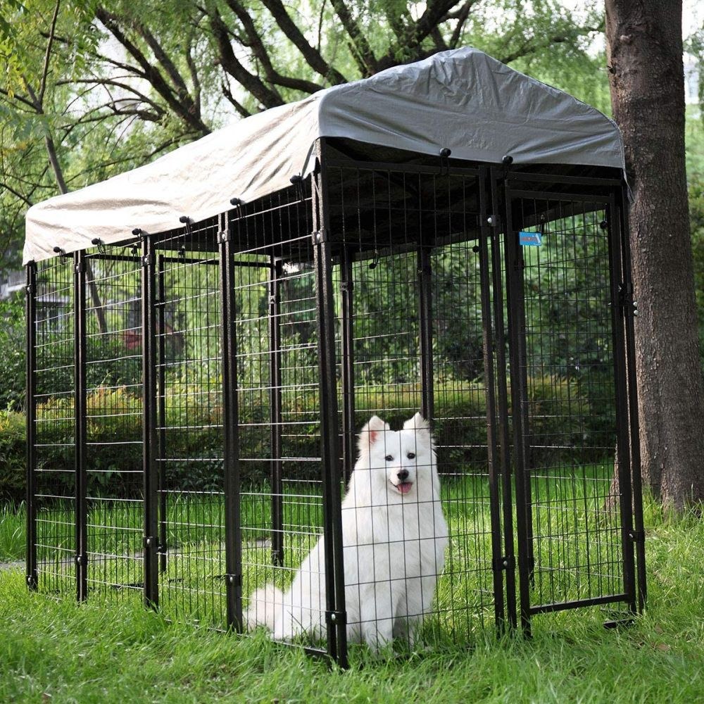 8x4x6 Ft Heavy Duty Wire Outside Retriever Dog Kennel Fence With Cover In 2020 Wire Dog Kennel Outside Dogs Dog Kennel