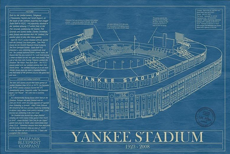 For the baseball nerd ballpark blueprints baseball wall art for the baseball nerd ballpark blueprints baseball wall art yankee malvernweather Choice Image