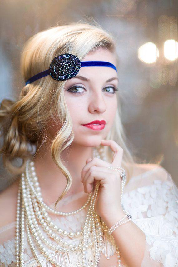 blue flapper 1920s beaded headband