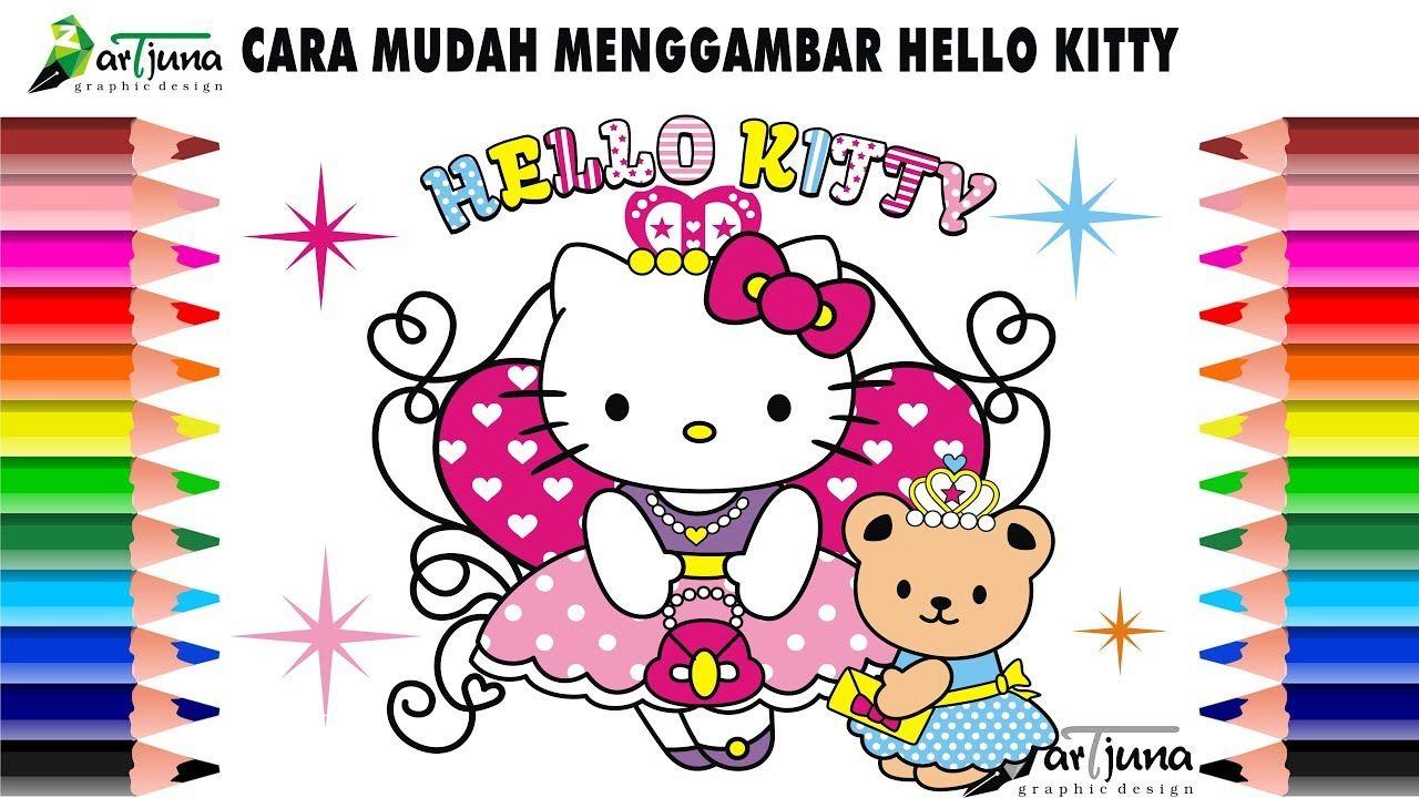 Cara Menggambar Dan Mewarnai Hello Kitty Youtube Dengan Gambar