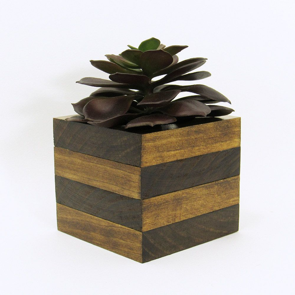 Large Wood Succulent Planter Modern Cube Plant Holder Wooden