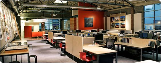 Trends in office space design reducing office space size and designing more open concepts to