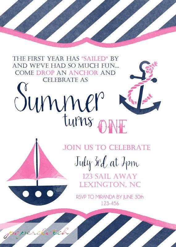 girl nautical first birthday invitation pink sailboat invitation