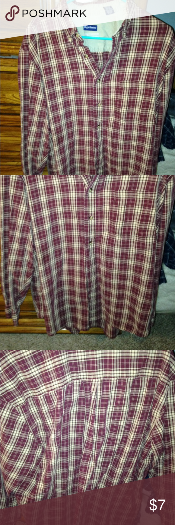 Men's red button down flannel Great condition. Nice material not too heavy not too light. Clean high sierra Tops Button Down Shirts