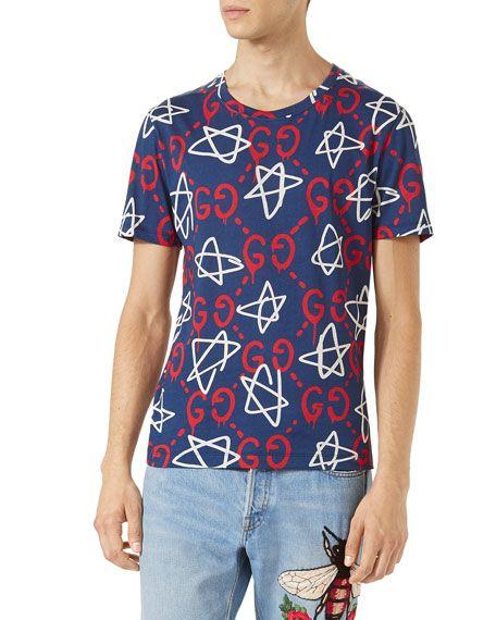 9a5631aa577b GUCCI Guccighost Star T-Shirt, Navy. #gucci #cloth # | Gucci Men ...