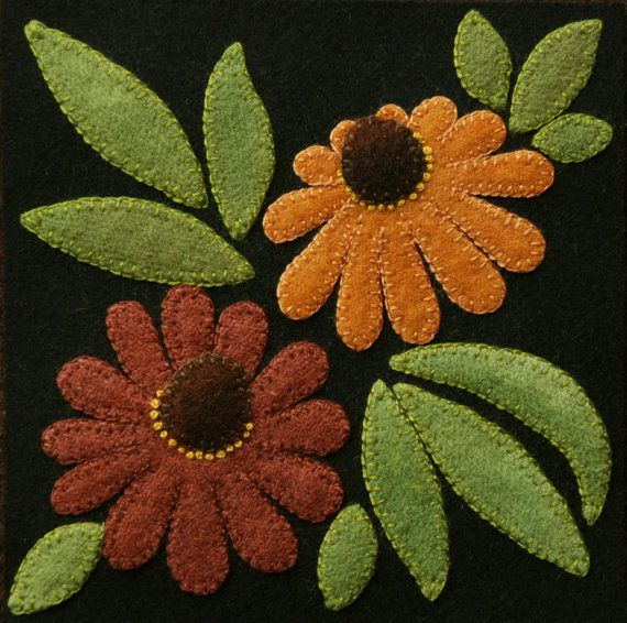 Wool applique BOM PATTERN &/or KIT Cone Flowers 6x6 block 1 of 24 in Four Seasons of Flowers wool quilt runner wall hanging felted wool #autumnseason