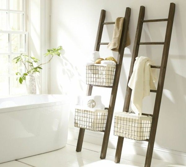 ideas for storage with ladders wooden towel rack wood