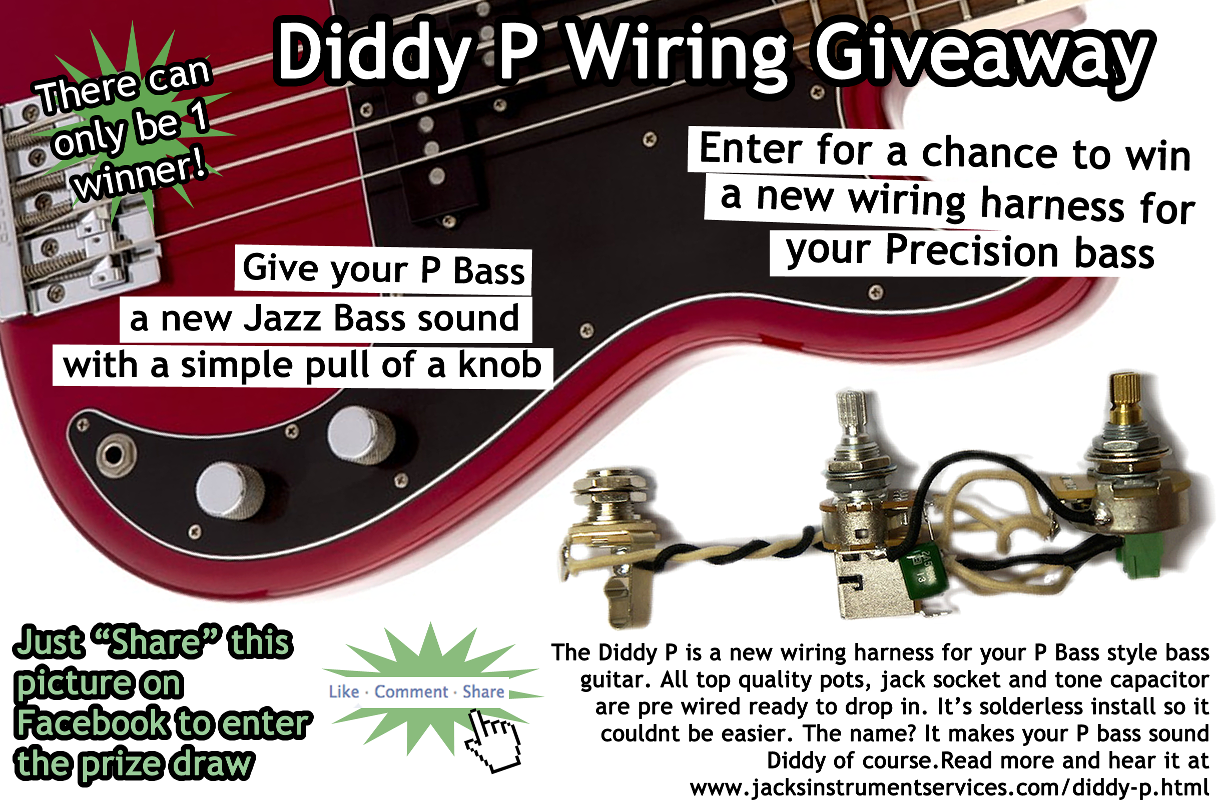 Win a Diddy P wiring harness for your P bass guitar! Share this picture on
