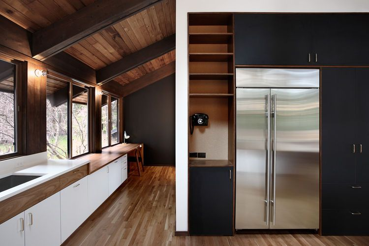 Midcentury kitchen remodel, complete with rotary phone K