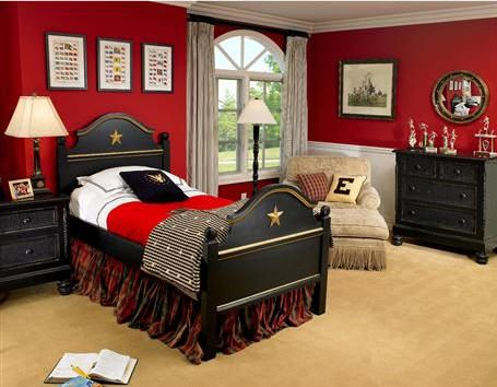 Red And Black Boys Room I Could Manage This Now To See If I Can Convince Liam To Just Go With Black Red Black Bedrooms Bedroom Red Traditional Kids Bedroom