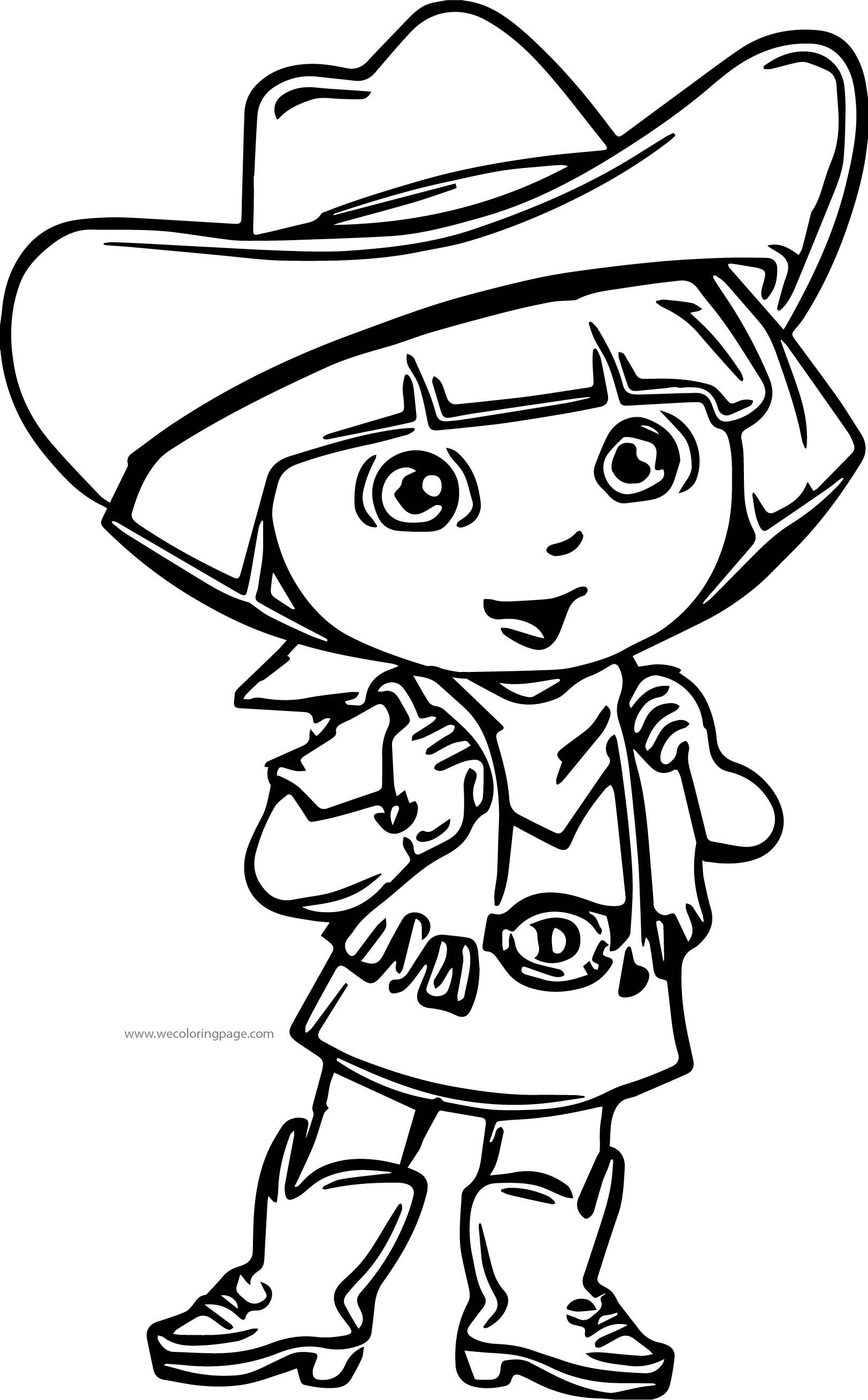 Dora The Explorer Cowboy Coloring Page Dora The Explorer Cowboy