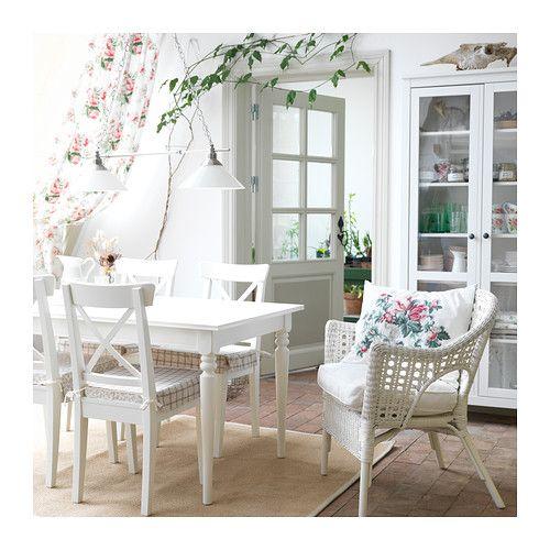 INGOLF Stuhl, weiß ausziehbarer Esstisch, Ausziehtisch und Esstische - esszimmer landhausstil ikea