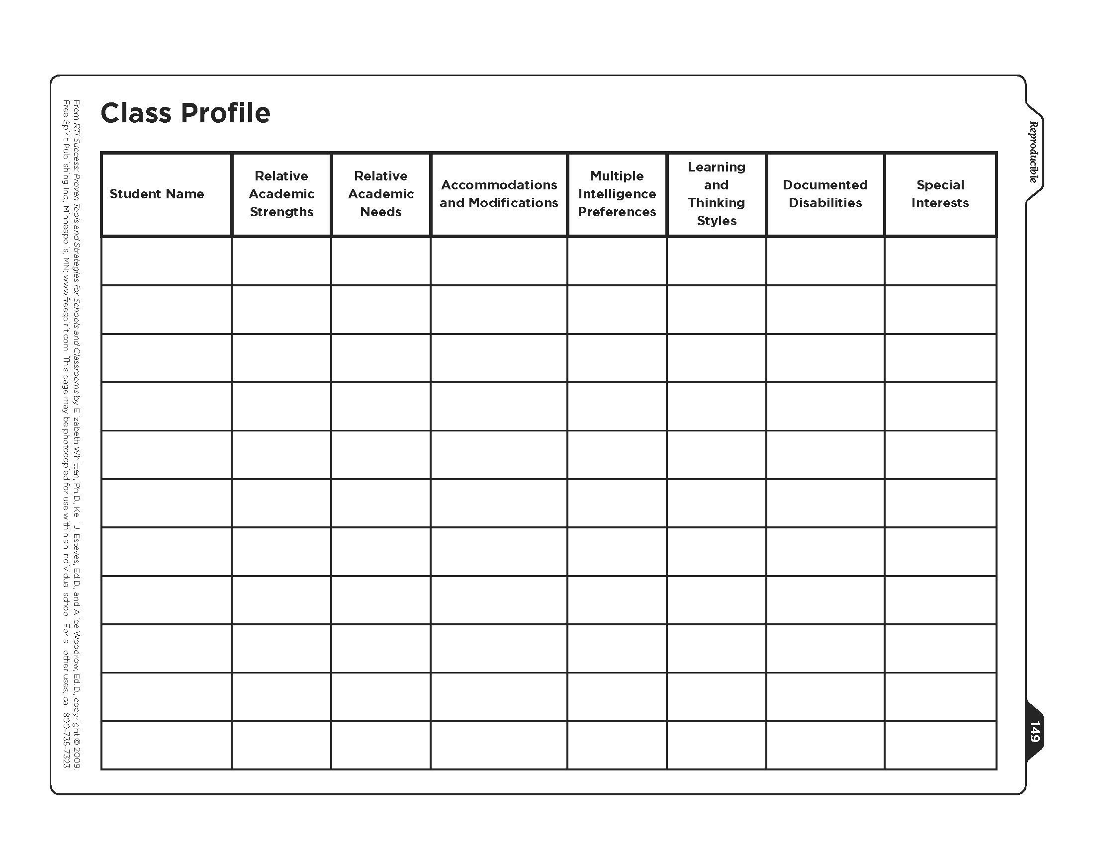 Free Class Profile Worksheet From Rti Success Record