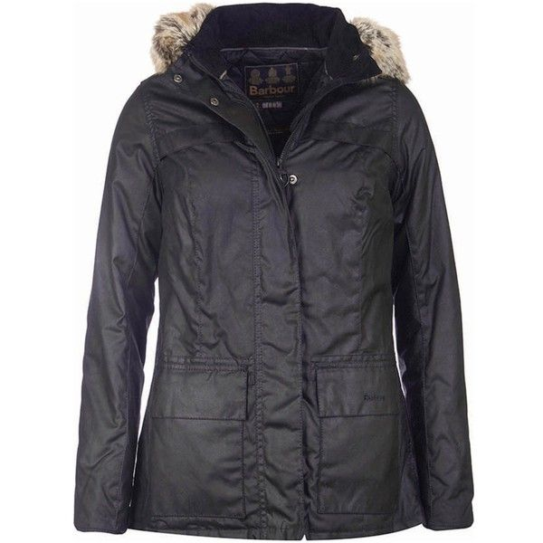 c971883e2ff Women's Barbour Ellen Wax Jacket - Black ($305) ❤ liked on Polyvore ...
