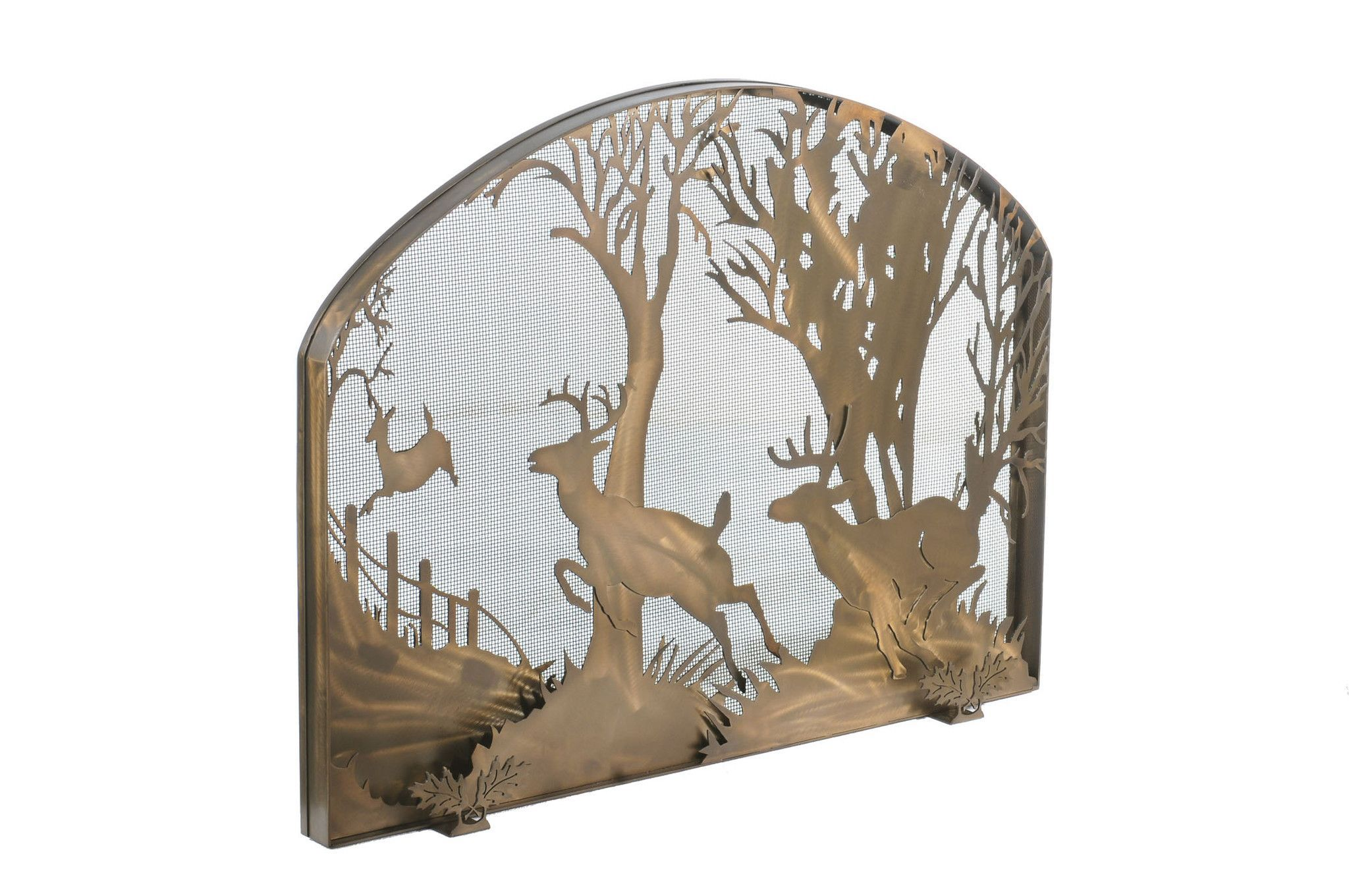 """Meyda 39.5""""W X 30""""H Deer On The Loose Arched Fireplace Screen"""