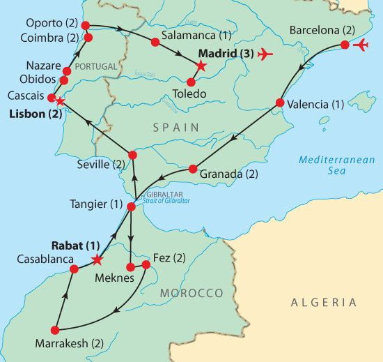 Map Of Portugal And Spain.Map For Spain Portugal Morocco Travel Portugal Morocco Spain