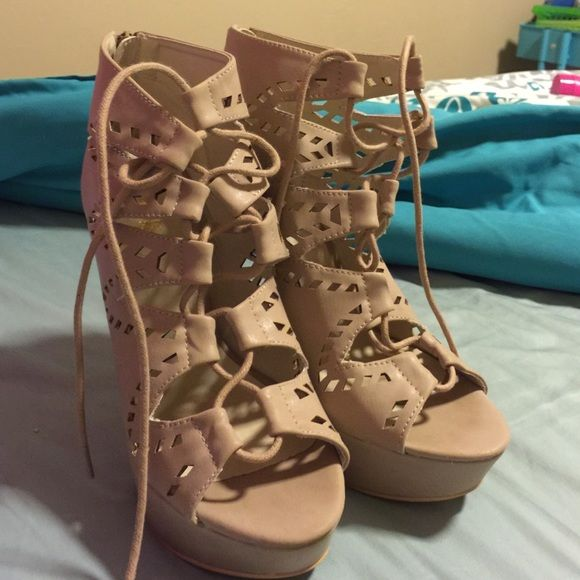 Charlotte Russe lace up heels in nude, Size 8.5 Nude, size 8.5, only worn once Charlotte Russe Shoes Heels