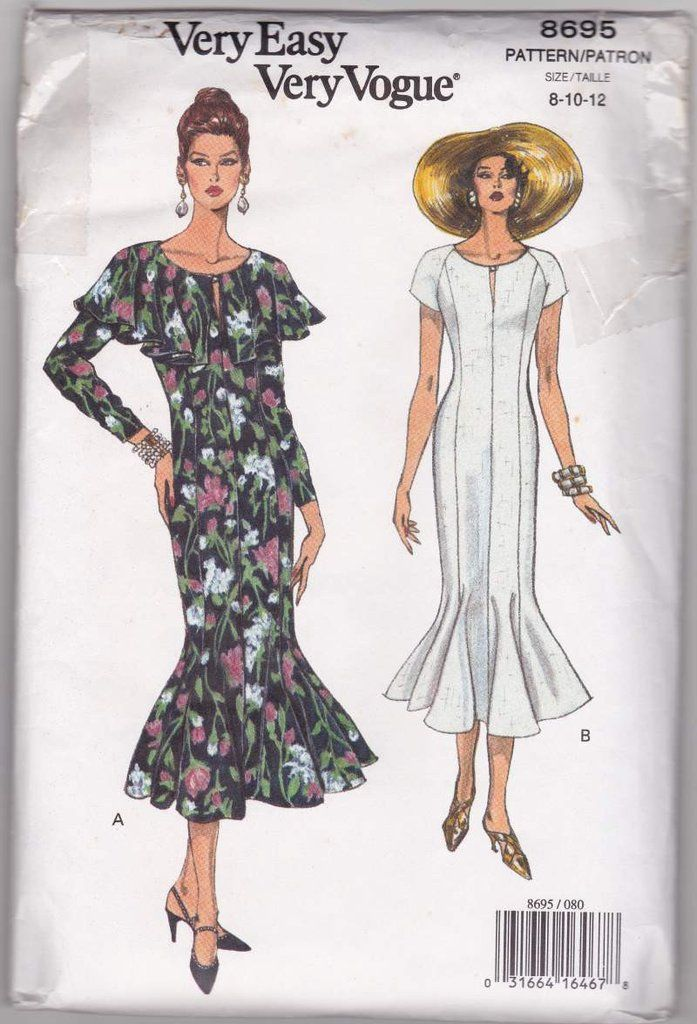 90s Vogue Pattern 8695 Fitted Flared Dress Sewing Pattern Miss 8-10 ...