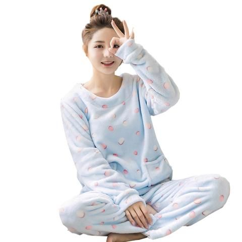 Adults Autumn and Winter Women Pyjamas Sets Thick Warm pajamas Suit Flannel  Long Sleeve Female Cartoon Animal Pants Sleepwear cabea2f0a