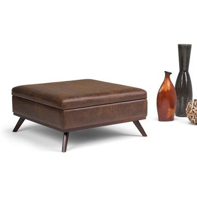 Square Coffee Table Ottoman with Storage - Distressed Saddle Brown ...