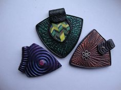 Three pendants- Inspired by Helen Breil's wonderful work. Two of her textures and one made from one of her tutorials.