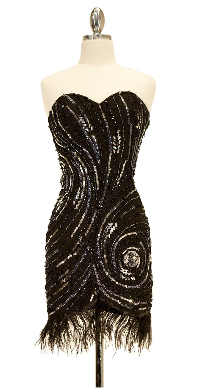 1920s Flapper Dress Black Sequin Dress