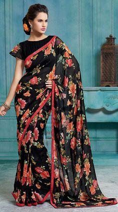 11dbea932ad60b Black Chiffon Light Red Floral Printed Border Saree With Blouse