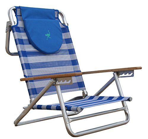 Ostrich South Beach Sand Chair Blue White Ostrich Sand Chair Backpack Beach Chair Beach Sand