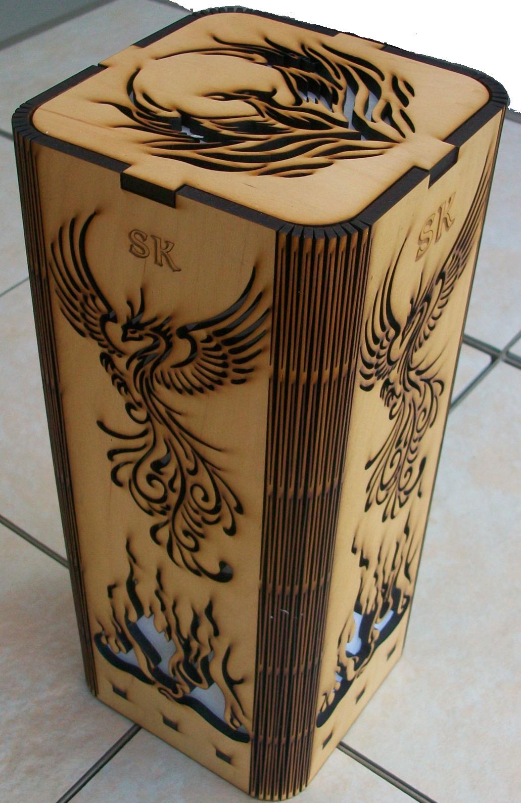 Personalized Phoenix Rising Laser Cut Laser Engraved Lamp