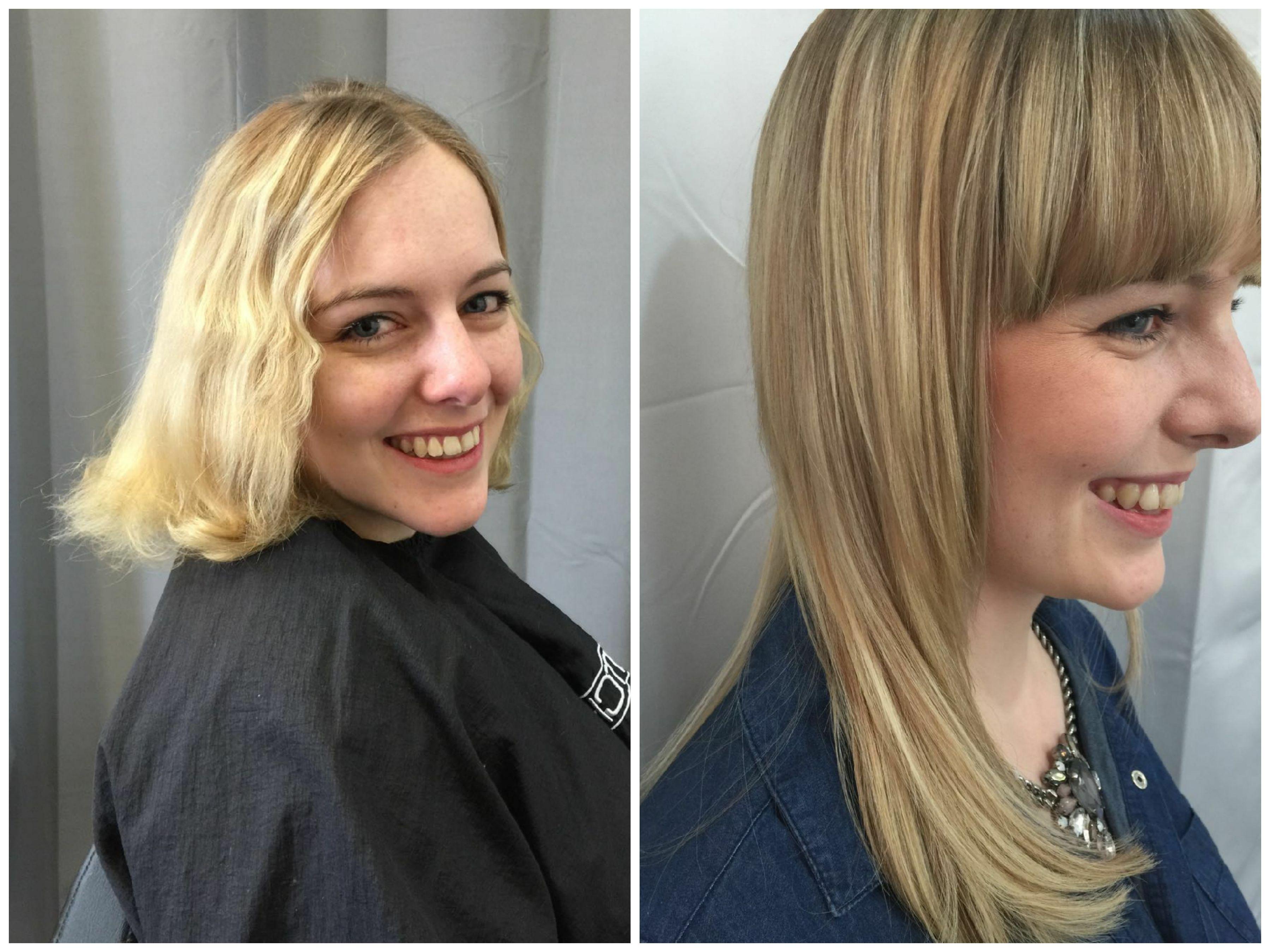 Vorher Nachher Blonde Extensions Mit Hairtalk Extensions Haarverlangerung Hairtalkextension Kurzhaarfrisuren Kurzhaarfrisuren Dunnes Haar Haarverlangerung